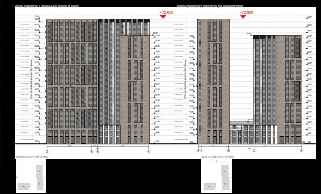 ЖК на 11-й Парковой улице. Схема фасадов А и Б © ГК «ОЛИМПРОЕКТ»