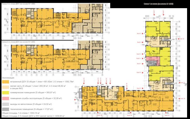ЖК на 11-й Парковой улице. Схема плана 1 этажа и 2-3 этажей ДОУ © ГК «ОЛИМПРОЕКТ»