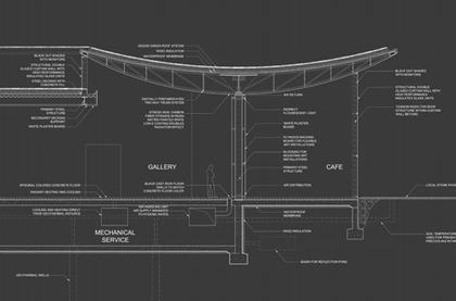 Центр искусств Хернинга.  Проект. Разрез. Деталь
