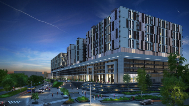 """Multifunctional complex in """"Park of Legends"""" on the territory of the former ZIL plant. Night view © Olimpproekt Group"""