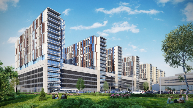 """Multifunctional complex in """"Park of Legends"""" on the territory of the former ZIL plant © Olimpproekt Group"""