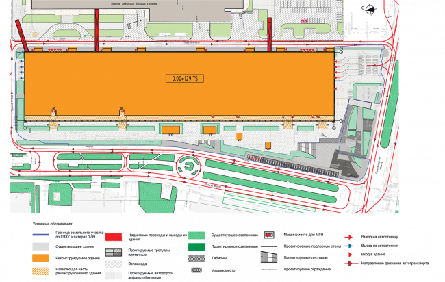 """Multifunctional complex in """"Park of Legends"""" on the territory of the former ZIL plant. Diagram of the planning organization of the land plot superimposed on the transport diagram of the territory © Olimpproekt Group"""