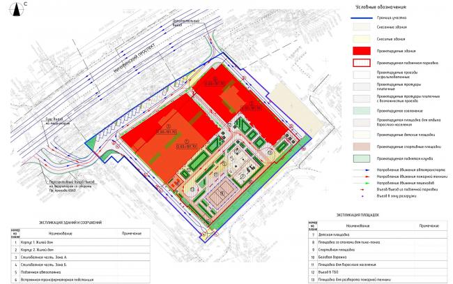 ЖК «Пикассо». Схема планировочной организации земельного участка, совмещенная со схемой транспортной и пешеходной организацией территории  © ГК «ОЛИМПРОЕКТ»