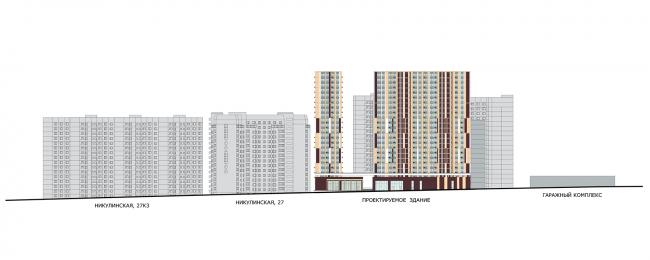 ЖК «Пикассо». Схема развёртки фасадов с Мичуринского проспекта © ГК «ОЛИМПРОЕКТ»