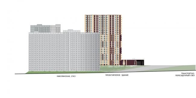 ЖК «Пикассо». Схема развёртки фасадов с ул. Никулинская © ГК «ОЛИМПРОЕКТ»