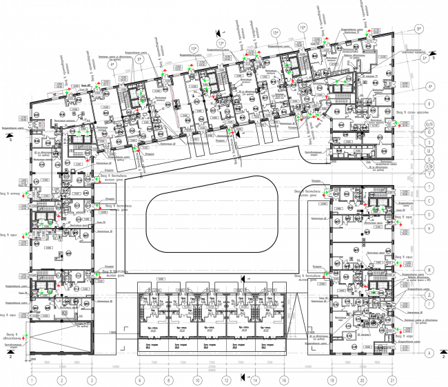 ZilArt residential complex. Plan of the 1st floor © Eugene Gerasimov and Partners
