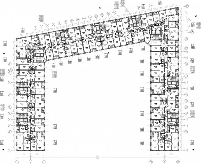 ZilArt residential comple. Plan of floors 3-7 © Eugene Gerasimov and Partners