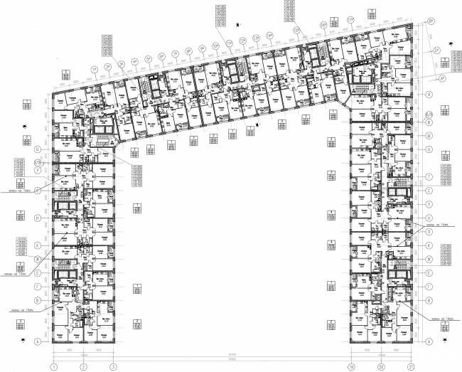 ZilArt residential comple. Plan of floors 8-14 © Eugene Gerasimov and Partners