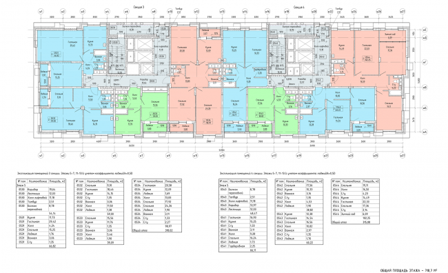 Схема плана 3,4, секция, 5-7, 11-13 этажа © ГК «ОЛИМПРОЕКТ»