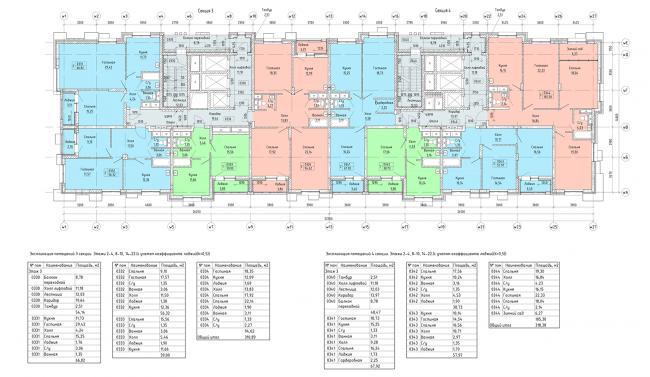 ЖК «Пикассо».  Схема плана 3,4, секция 2-4, 8-10, 14-22 этажа © ГК «ОЛИМПРОЕКТ»