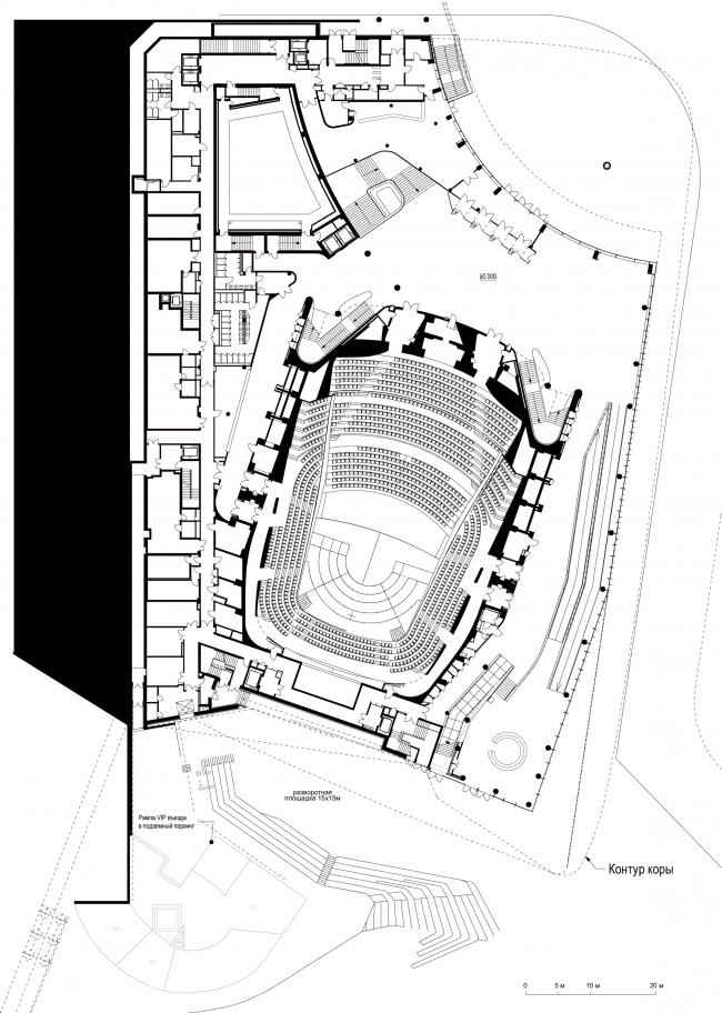 Zaryadye Philharmonic Hall. Plan of the 1st floor © TPO Reserve