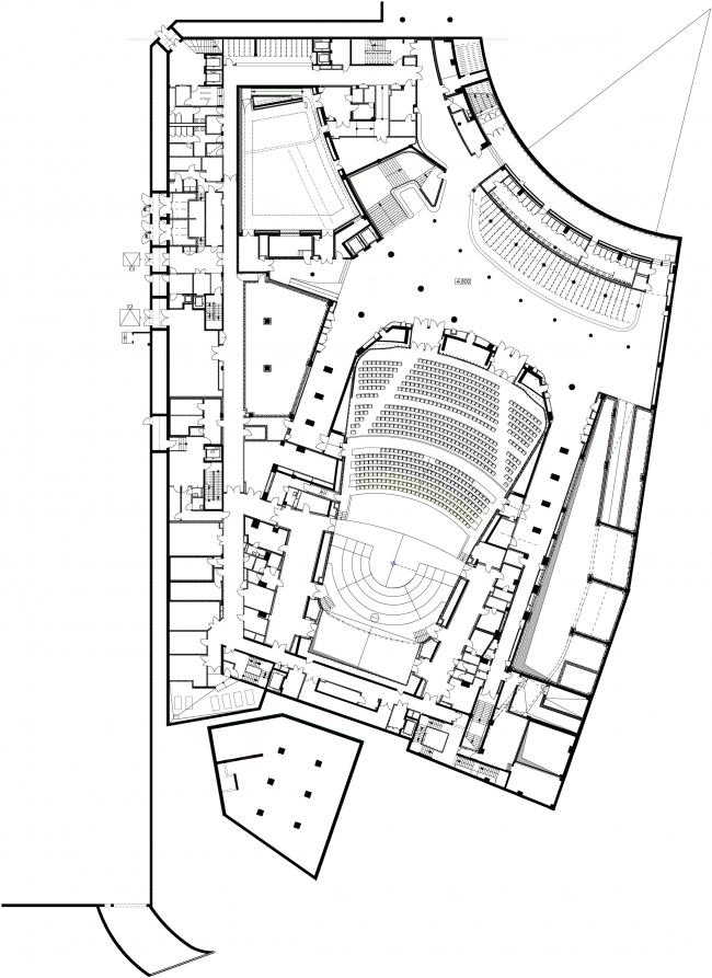 Zaryadye Philharmonic Hall. Plan of the -1st floor © TPO Reserve