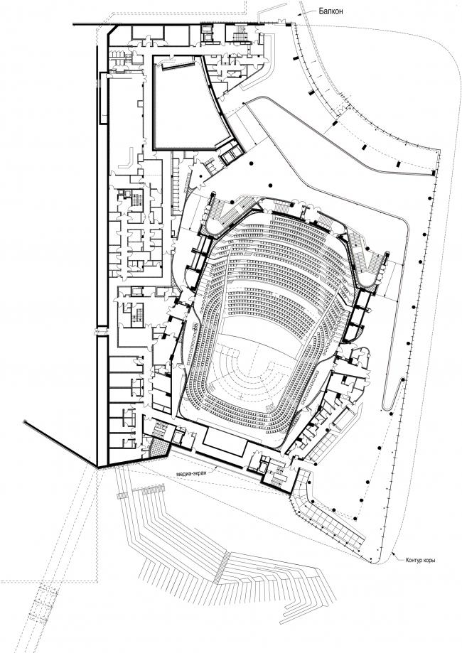Zaryadye Philharmonic Hall. Plan of the 2nd floor © TPO Reserve