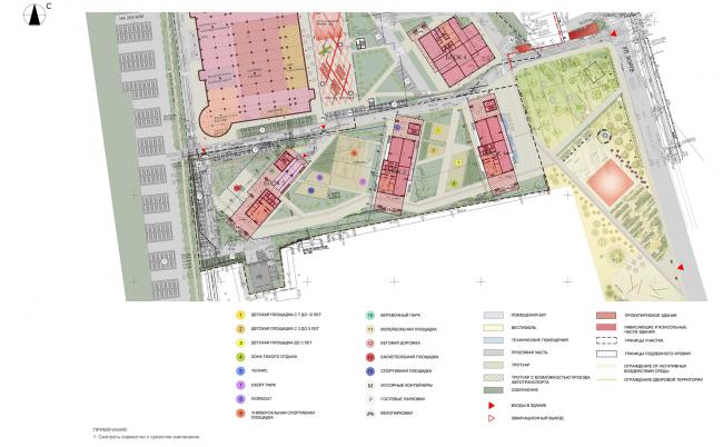 ЖК на улице Зорге. Схема планировочной организации земельного участка © ГК «ОЛИМПРОЕКТ»