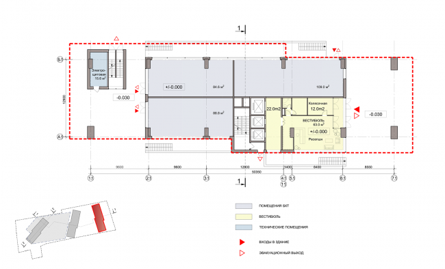ЖК на улице Зорге. План 1 этажа, блок 1 © ГК «ОЛИМПРОЕКТ»