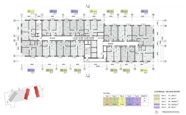 ЖК на улице Зорге. План типового этажа. Блок 1,2  © ГК «ОЛИМПРОЕКТ»