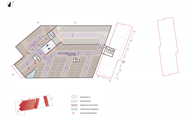 ЖК на улице Зорге. План подземного этажа на отметке -6,8 © ГК «ОЛИМПРОЕКТ»