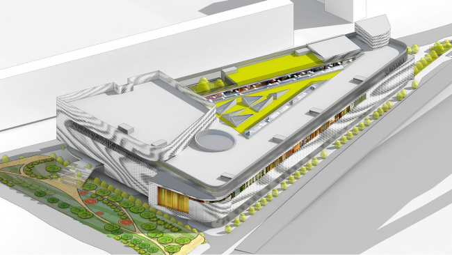 Проект. Слева видна нереализованная эспланада, ведущая к скверу. Многофункциональный центр «Океания» (решение фасадов) © Архитектурное бюро Асадова