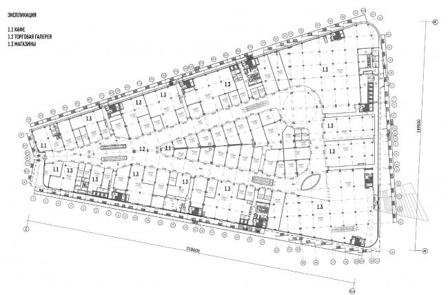 """Oceania"" multifunctional center (facade solution). Plan of the first floor © Asadov Architectural Bureau"