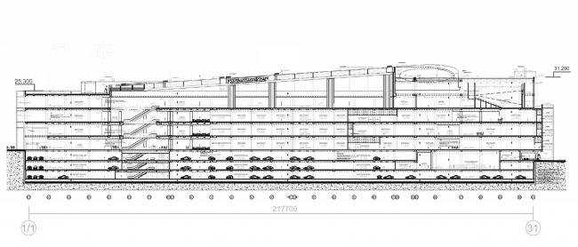 Многофункциональный центр «Океания» (решение фасадов). Разрез © Архитектурное бюро Асадова