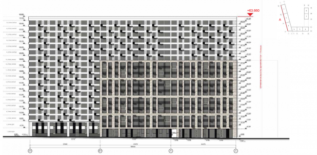ЖК на ул. Михайлова. Схема фасада в осях С1-А