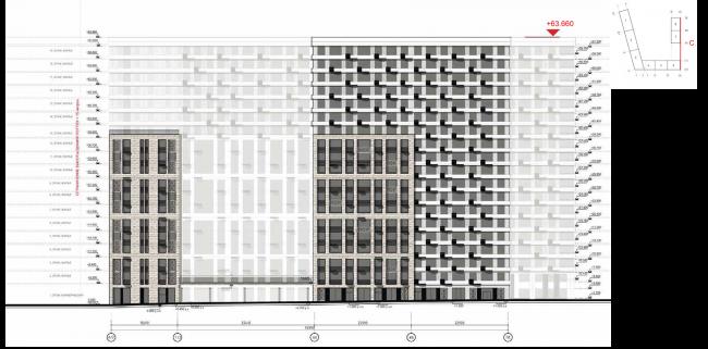 ЖК на ул. Михайлова. Схема фасада в осях А/2-Пб