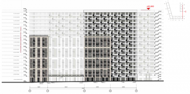 Housing complex at the Mikhailova Street. Elevation on grid in axes A2-Pb © Olimpproekt Group