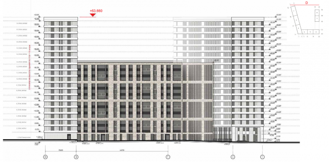 Housing complex at the Mikhailova Street. Elevation on grid in axes 4-b-1 © Olimpproekt Group