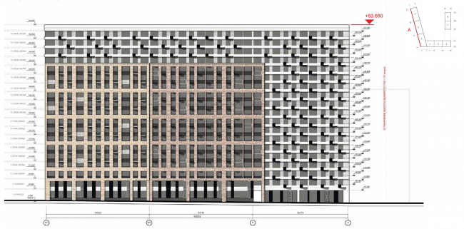 Housing complex at the Mikhailova Street. Elevation on grid in axes C1-A © Olimpproekt Group