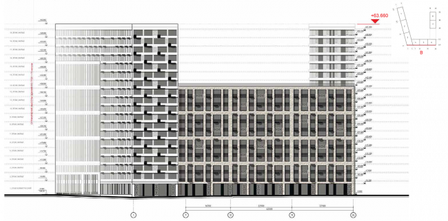 Housing complex at the Mikhailova Street. Elevation on grid in axes 1-26 © Olimpproekt Group