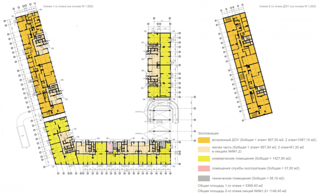 Housing complex at the Mikhailova Street. Plan of the 1st and 2nd floor © Olimpproekt Group