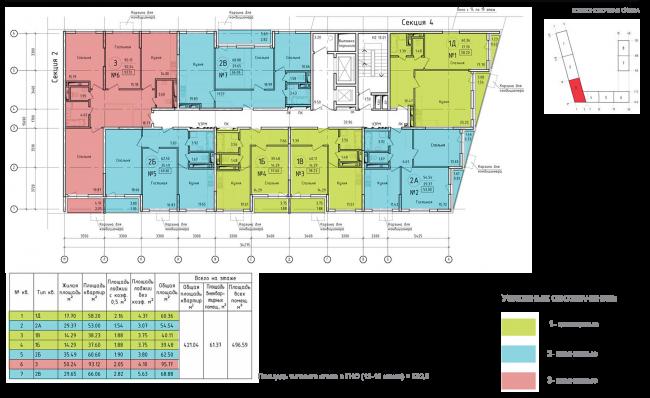 ЖК на ул. Михайлова. Схема плана типового этажа со 13 по 19,  секции 3
