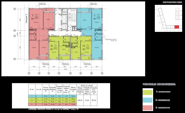 ЖК на ул. Михайлова. Схема плана типового этажа секции 6