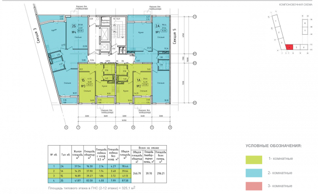 Housing complex at the Mikhailova Street. Plan of the standard floor of Section 4 © Olimpproekt Group