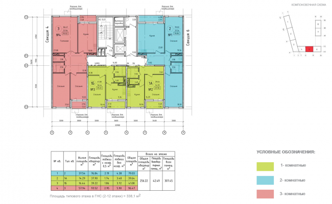 Housing complex at the Mikhailova Street. Plan of the standard floor of Section 5 © Olimpproekt Group