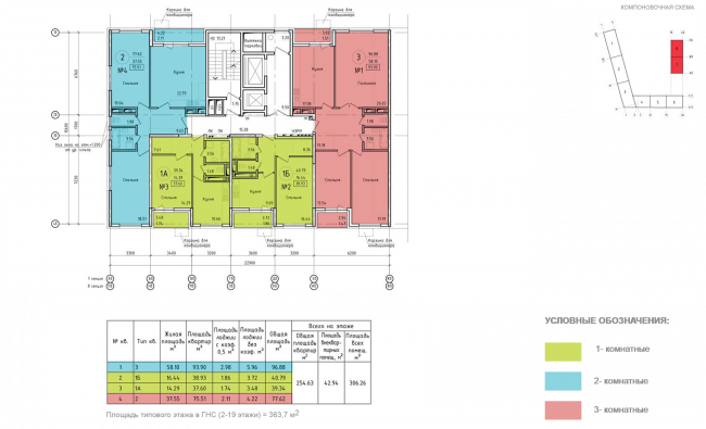 Housing complex at the Mikhailova Street. Plan of the standard floor of Sections 7 and 8 © Olimpproekt Group
