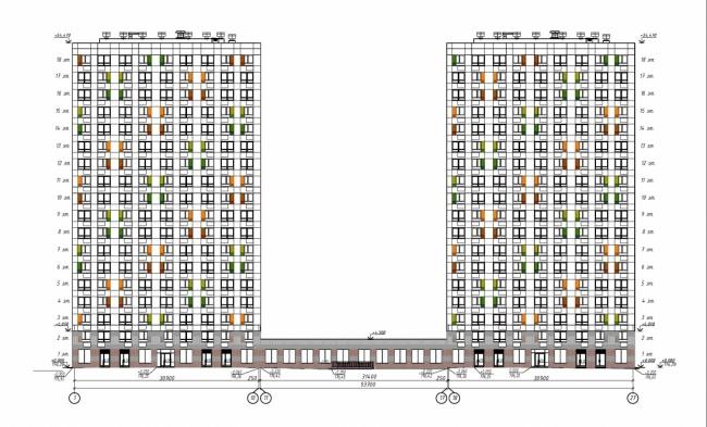 Жилые дома в квартале «Бунинские луга». Схема фасада © ООО «ПИК-Проект». Предоставлено пресс-службой «Москомархитектуры»