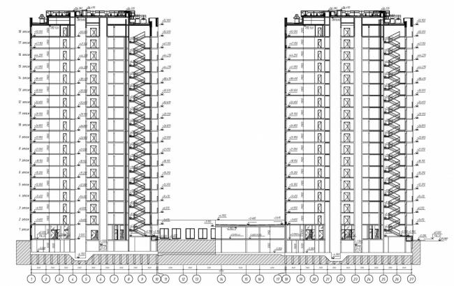Жилые дома в квартале «Бунинские луга». Разрез 1-1 © ООО «ПИК-Проект». Предоставлено пресс-службой «Москомархитектуры»