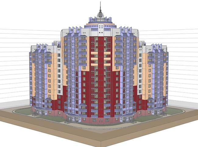 Многоквартирный жилой дом с офисными помещениями. Кушнарев Олег и Королев Андрей (г. Оренбург)
