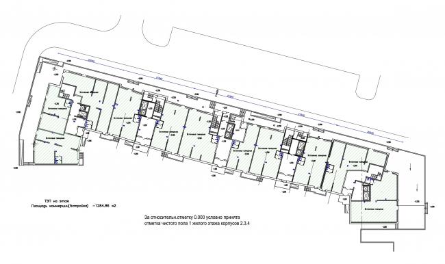 Жилой квартал LIFE-Приморский. Корпус 1, план 1 этажа © Архитектурная мастерская Цыцина