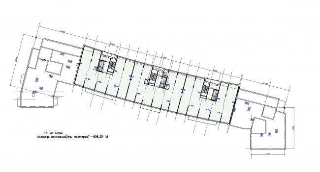 Жилой квартал LIFE-Приморский. Корпус 1, план 12 этажа © Архитектурная мастерская Цыцина