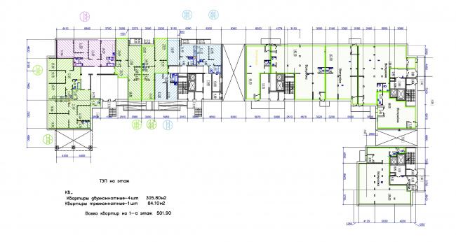 Жилой квартал LIFE-Приморский. Корпус 2, план 1 этажа © Архитектурная мастерская Цыцина