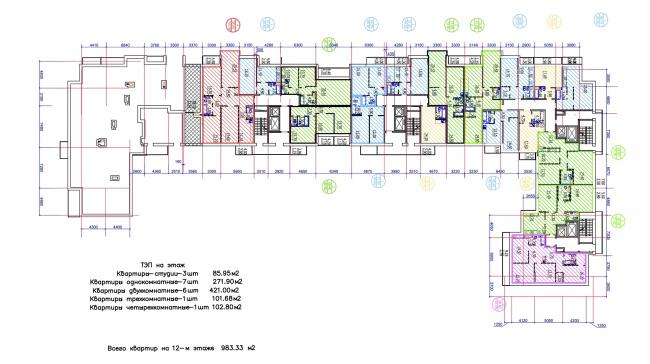 Жилой квартал LIFE-Приморский. Корпус 2, план 12 этажа © Архитектурная мастерская Цыцина