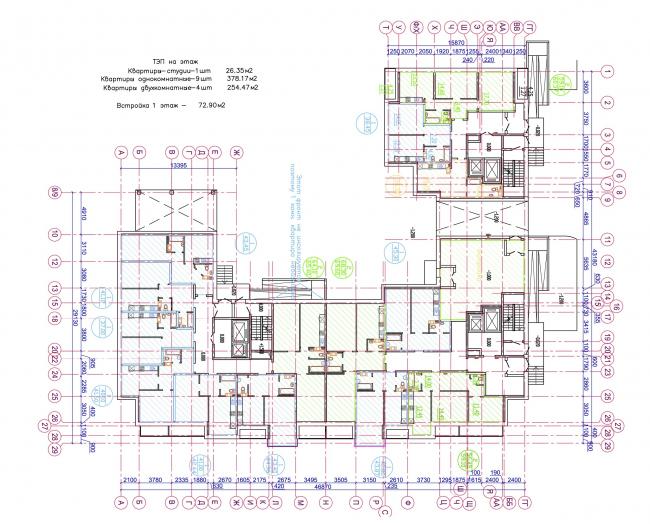 Жилой квартал LIFE-Приморский. Корпус 3, план 1 этажа © Архитектурная мастерская Цыцина