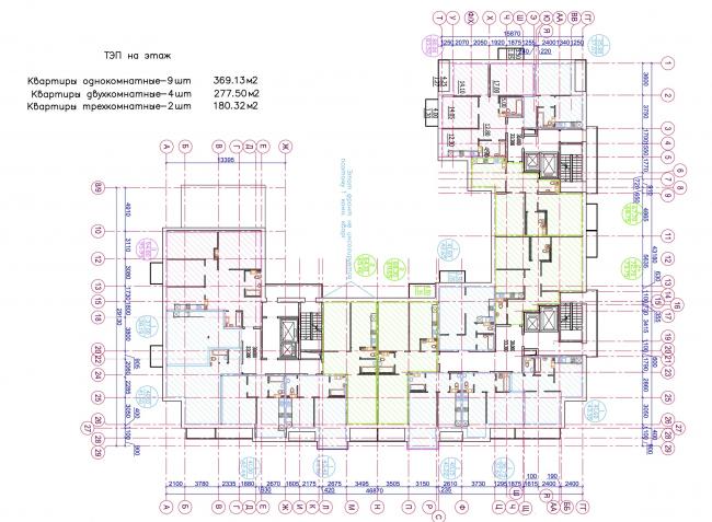 Жилой квартал LIFE-Приморский. 3 корпус, 11-12 этажи © Архитектурная мастерская Цыцина