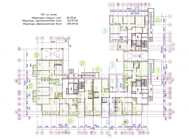 Жилой квартал LIFE-Приморский. Корпус 4, план 1 этажа © Архитектурная мастерская Цыцина