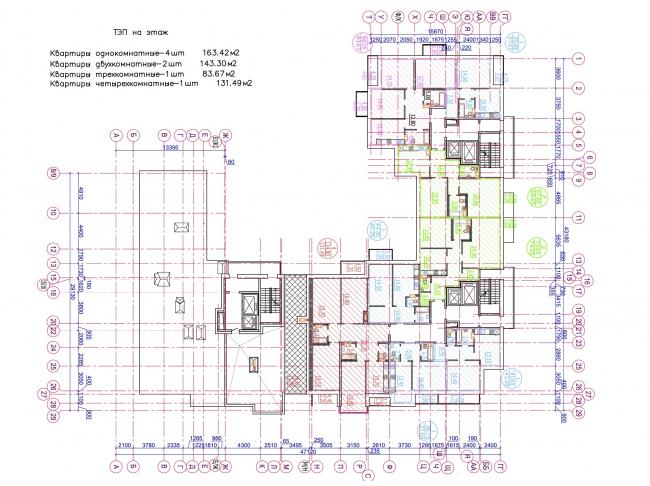 Жилой квартал LIFE-Приморский. Корпус 4, план 12 этажа © Архитектурная мастерская Цыцина