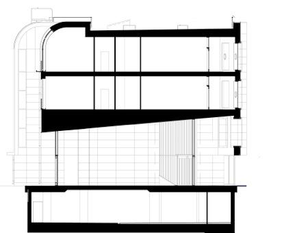 Пречистенской набережной. Разрез по лобби корпуса 1. Проект, 2005 © Остоженка