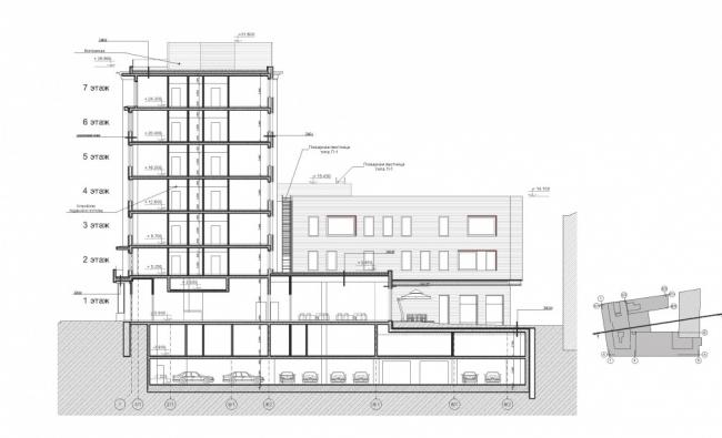Реконструкция комплекса АТС под гостиницу. Разрез 1-1 © ООО «Спектрум-Холдинг». Предоставлено пресс-службой «Москомархитектуры»