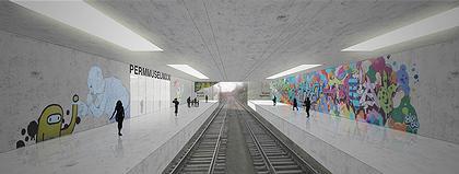 Музейный центр PermMuseumXXI. Конкурсный проект Б. Бернаскони. Победитель второго тура (I-II премия). Железная дорога внутри музея